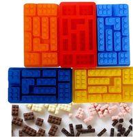 Wholesale Lego silicone mold Baking molds chocolate mold silicone ice lattice ice mold rectangular lego brick ice trays ice cream maker NEW