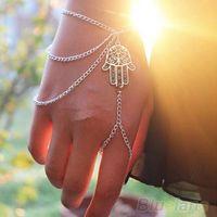 slave bracelets - Asymmetric Mens fashion Hamsa Fatima Finger Ring Slave Hand Chain Women Harness DDC