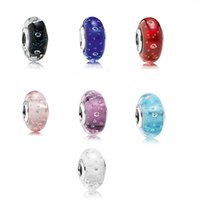 Wholesale Sterling Silver Pandora Murano Glass Beads Set Clear Cz Fits For European Bracelet price catalogue