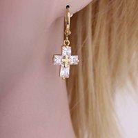 Wholesale Fashion Jewelry Plated K Gold Cross Drop Dangle Pendant Ear Earring Gift for Women Pair Clear Crystal Zircon Hoop Earrings