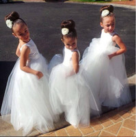 Wholesale white simple cheap tulle flower girl dresses a line glitz pageant dress Birthday Dress crew neckline cupcake Girl Dresses