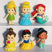 bella set - set Cute Q Princess Snow White Bella Cinderella Princess Jasmine Mermaid PVC Figure Toys Doll For Girl cm