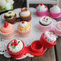 Wholesale New Cartoon Cute Cream Cup Cake Travel Glasses Contact Lenses Box Contact lens Case for Eyes Care Kit Holder Christmas gift Gift