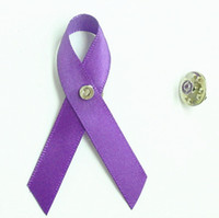 Wholesale Purple Awareness Ribbon Bow corses with Pin Brooch