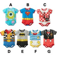 Cheap 2015 summer New arrival baby's clothes infant cute rompers cartoon superman batman mickey minnie duck cotton one-piece