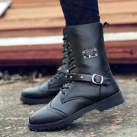 work boots for men - Man Martin Boots Genuine Leather Vamp Thicken Linings Winter Boots For Men Fashion Metal Buckle Lace Up Mens Half Boots Retail H670