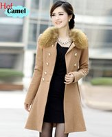 Wholesale Autumn Women Coat Woolen Double Breasted Overcoat Slim Solid Long Womens Clothing Removeable Faux Fur Collar Long Jacket Winter