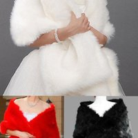 Wholesale New Cheap White Red Black Bridal Wraps for Wedding Shawl Coat Jackets Regular Faux Fur Bridal Accessories