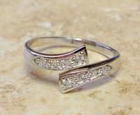 adjustable sterling silver toe rings - Sterling Silver Twist Clear Cubic Adjustable Foot Toe Tail Rings Toe Rings Beach Toe Jewelry Women Lady YBLH5001
