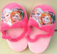 Wholesale Frozen Anna Elsa Snow Princess Short Fur Cotton Slippers Children Girls Winter New Kids Baby Bring Heelpiece Home Shoes pairs L0833