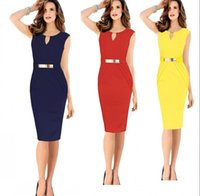 office dresses - 2015 New Women Work Dresses Summer Elegant Ladies Office Casual Bodycon Celebrity Dress Pencil Party Dress Short Prom Dresses OXL141002