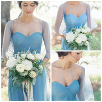 Reference Images ba cap - 2016 Popular Sky Blue Sweetheart Cap Sleeves Tulle Cheap Bridesmaid Dresses Flowing Skirt Maid Of Honor Gowns Ruffles Party Evening Gowns BA