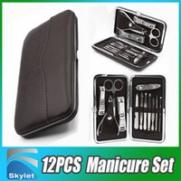 Wholesale 12pcs Manicure Set Leather Case for Nail care Tools Pedicure Set Travel Grooming Kit Tools With Retail package DHL