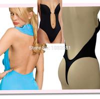 backless shapewear - Invisible under dress shapewear piece thong bottom backless deep U body shaper bodysuit for wedding evening bridal dress E58B