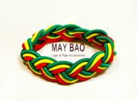 lobster claw - Reggae Rasta bracelet Yellow green red Africa colors head rope Stripe Leather Band Bracelet Wrist Bracelet Bob Marley Jamaica bracelet