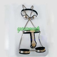 thigh cuffs - BDSM suit Female Fully Adjustable T type Chastity Belt Thigh Cuffs Bra BDSM suit JJD10222340