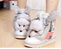 Wholesale 2014 Fashion Snow Boots In tube Stripes Genuine Fox Head Rabbit Fur Leather Winter Boots For Women Warm Shoes Size