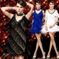 Wholesale Womens s Sexy V Neck Beade vintage Sequin Mini Gatsby Flapper Dress costume Clothes Dance Wear Party City with Fringe Tassel for Prom