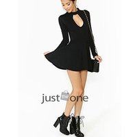 Wholesale Sexy Wear Bust Open - Black mini Pleated Dress Long Sleeve Halter Neck Open panel to Bust Sexy Party Dress Back To School Party Skater Dress