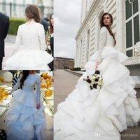 christmas wedding dresses - 2016 Modest Wedding Dresses Long Sleeve with Beads Vintage Lace Dubai Ruffles Organza Christmas Bridal Gowns Court Train Custom Zuhair Murad