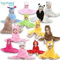 Wholesale Retail Designs Infants Baby Boys Girls Hooded Animal modeling Cloak Children Cartoon Bathrobe Towel Kids Coral Velvet Bath Towels