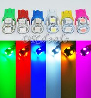 Wholesale 10PCS T10 White Green Yellow Pink Blue Red W5W SMD LED Car Side Wedge Light Lamp Bulb DC V