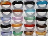 Wholesale 50pcs Fashion Jewelry Glossy Colourful Natural Agate Gemstone stone woman man Ring FREE