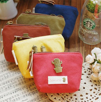 Wholesale 100pcs designs fashion retro Women s canvas bag Coin keychain keys wallet Purse change pocket holder organize cosmetic makeup Sorter D451