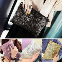 bling bag - Hot Selling Fashion Women Ladies Sparkling Bling Sequin Clutch Purse Evening Party Zipper Handbag Bags Makeup Bag Two Size Four Colors