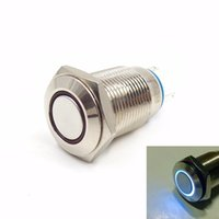 Wholesale Blue light color Automobile car motorcycle mm latching push button switch DC V Angel Eye