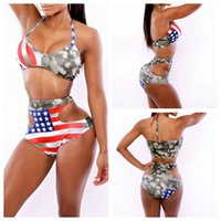 bathing suits usa - New Fahion Women Swimwear Bikini Usa Flag High Waist Swimsuits Bikini Set Sexy Bandge Bathing Suits