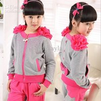 Girl activewear kids - Children s Activewear for spring autumn shoulder d peony flower zipper coat pants girls tracksuit Year kids suits QS172
