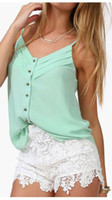 Wholesale 2015 new Europe style women s sexy tank top chiffon blouse candy color shirt for spring and summe