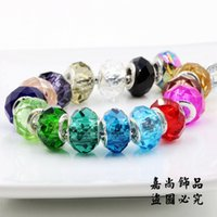 Wholesale Charms Colorful Mixed Random Faceted Crystal Glass Murano Lampwork Loose Spacer Beads Fit European Bracelet or DIY Jrewelry Craft Making PDN