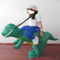 achat en gros de costume dino adulte-2016 Venice Carnival Inflatable Dinosaur Costume Fan Halloween Purim Party Costume Fantaisie Animal Costume Pour Adultes Dino Rider T-Rex