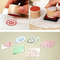 Wholesale 6pcs SET Assorted Retro Vintage Floral Flower Pattern Round Wooden Rubber Stamp Scrapbook DIY scrapbooking stamp wood TY1364