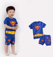 Cheap Baby Clothes Boys Cartoon Pajamas Sets Home Wear 2015 Summer Babies SUPERMAN S Printed Short Sleeve Tops Children Shorts Pants Blue I4099