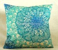 Wholesale Vintage quot Linen Pillow Cushion Cover Throw decorative cushion covers cm cm Vintage Blue Floral Pillow Case
