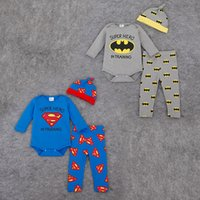 baby superman outfit - 2016 new Baby Superman One Piece outfits cap Romper pants set Spring styles Long sleeve Batman Romper Baby Clothing C476