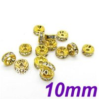 basketball wives ring - 10MM Straight Edge Gold Plated With Clear Stone Crystal Rhinestone Rondelle Spacer Beads DIY Basketball Wives Beads