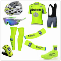 arm wear - 2016 Tour De France Tinkoff Saxo Cycling Jerseys Short Sleeve Road Bicycle Wear Seven Pieces Set With Gloves Arm Leg Shoes Cover Glass