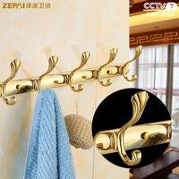 Wholesale Ze faction Continental golden coat hooks row hook clothes hook coat solid Bathroom Hardware Bathroom Accessories