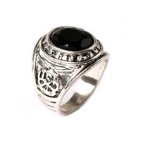 Wholesale New Arrival Mix Size Unisex Black Oval Ring Acrylic Flower Jewelry Simple Silver Plated High Quality Vintage