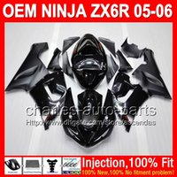 Wholesale 7gifts Tank Cover ALL black Fairing Kit For KAWASAKI NINJA ZX R ZX636 ZX6R ZX R flat glossy black Injection Body