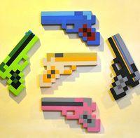Wholesale DDA3190 Minecraft weapons EVA Foam Gun firearm Blue Gem Stone Foam Gun Toy games cm styles mixed color