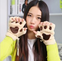 bare cats - Free DHL Winter Warm Women Fingerless Gloves Fluffy Bear Cat Plush Paw Fur Gloves Mittens Colors