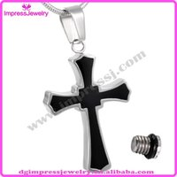 Wholesale IJD8023 Impress Jewelry Customized Design L stainless Steel Cremation Black Cross Urn Pendant Keepsake Memorial Necklace