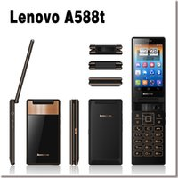 flip camera - Vertical Flip Mobile Phone Lenovo A588t Inch TFT Screen Android4 GB ROM MTK6582M Quad Core Dual SIM MP Camera Keyboard