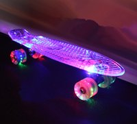 Wholesale new quot Flashing Led skateboard Luminous complete Transparent skate long board Retro mini cruiser longboard
