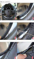 Wholesale DIY Car Steering Wheel Cover Artificial Leather Hand Sewing with Needle and Thread Three Colors Car Steer Decoration M4311